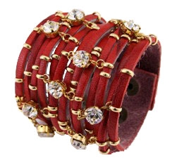 Браслеты с камнем сваровски кожаные
